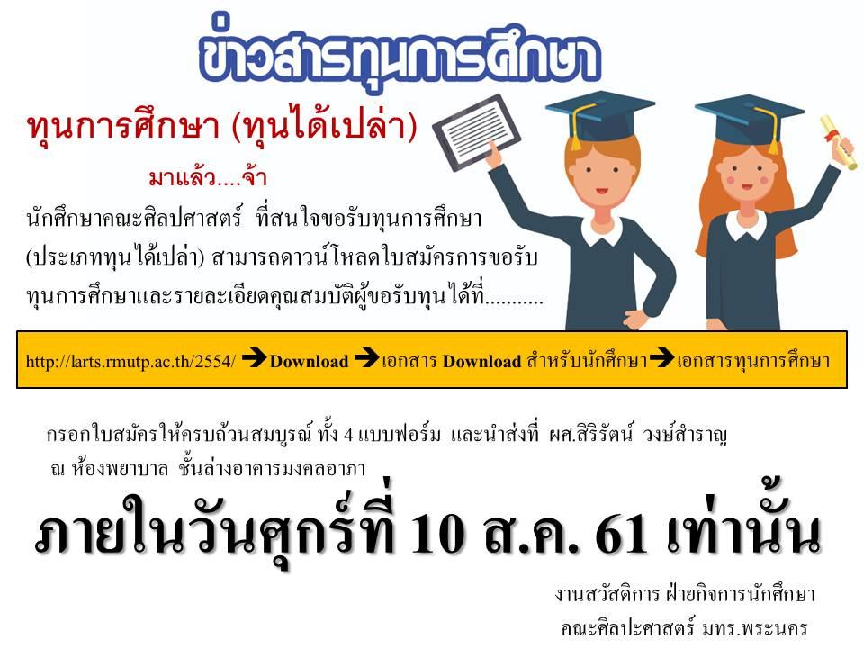 ทุนการศึกษา ประเภททุนได้เปล่า