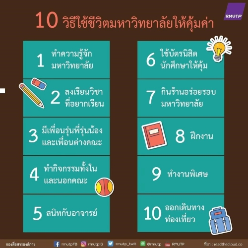10 วิธีใช้ชีวิตมหาวิทยาลัยให้คุ้มค่า