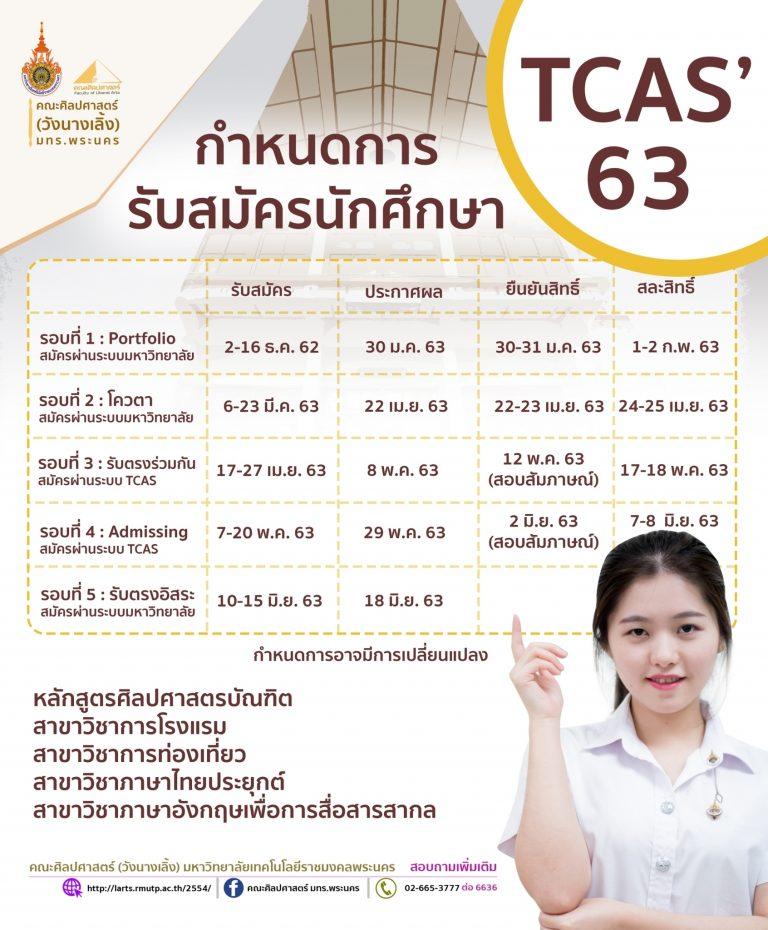กำหนดการรับสมัครนักศึกษษ TCAS '63