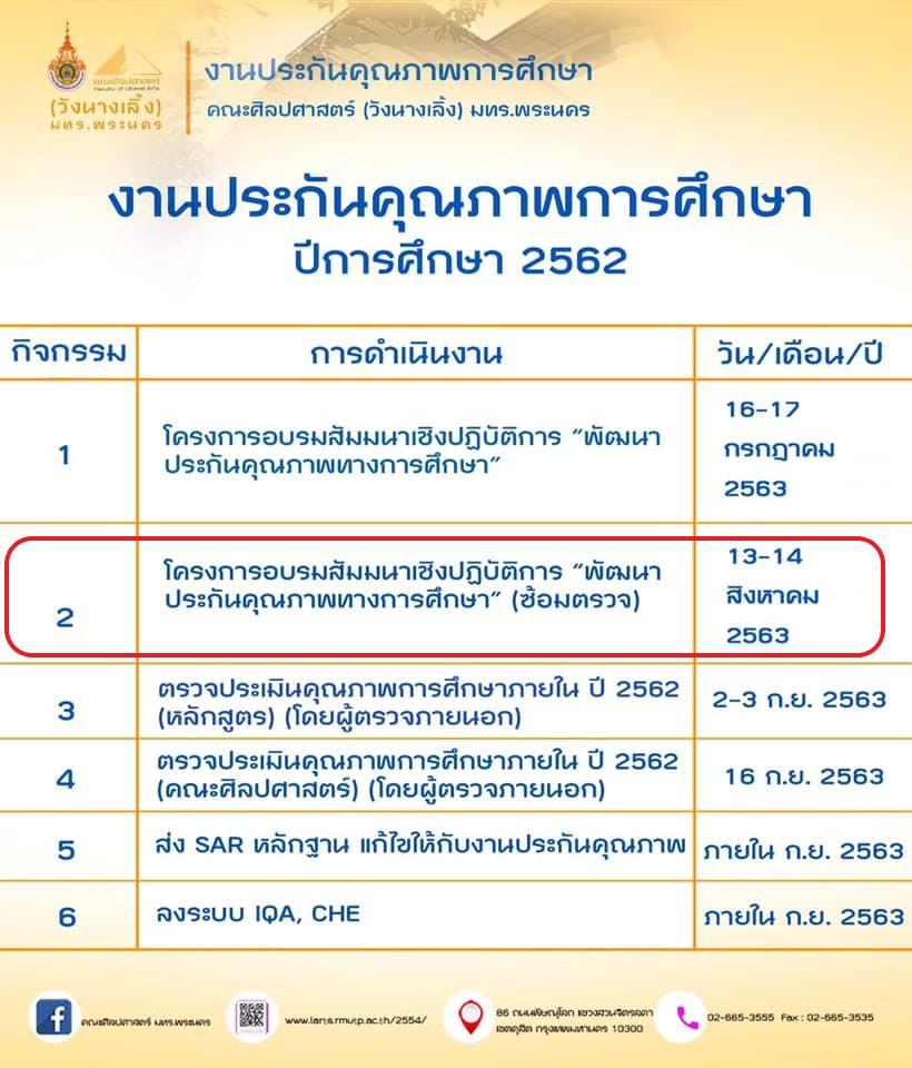 """โครงการอบรมสัมมนาเชิงปฏิบัติการ """"พัฒนาประกันคุณภาพทางการศึกษา"""" (ซ้อมตรวจ) ในวันที่ 13-14 สิงหาคม 2563"""