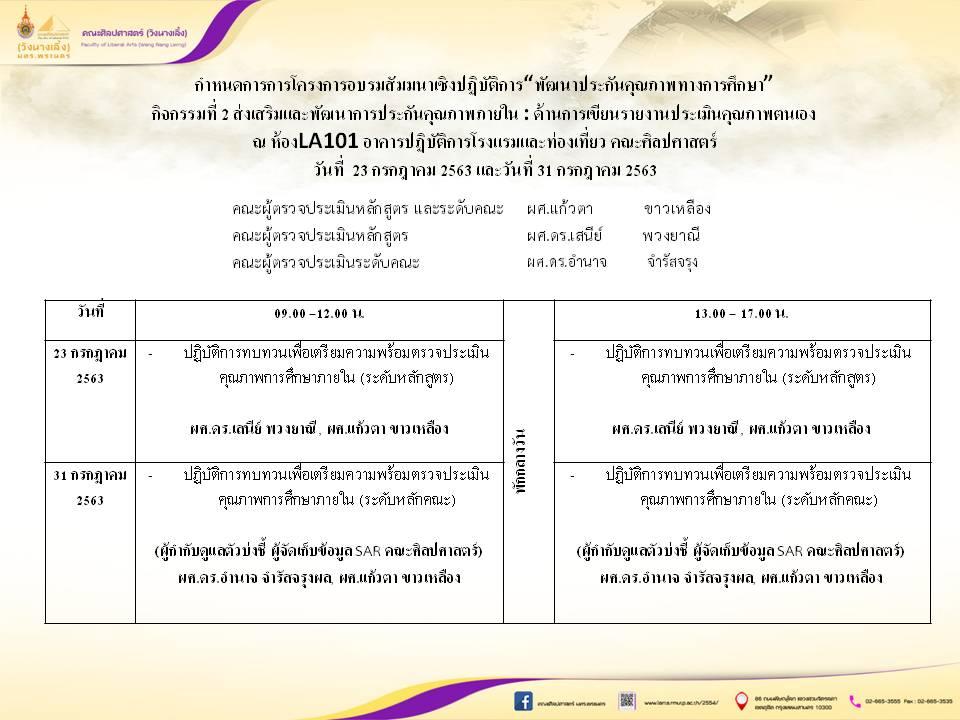 กิจกรรมที่ 2 ส่งเสริมและพัฒนาการประกันคุณภาพภายใน : ด้านการเขียนรายงานประเมินคุณภาพตนเอง วันที่ 23 กรกฎาคม 2563 และ วันที่ 31 กรกฎาคม 2563