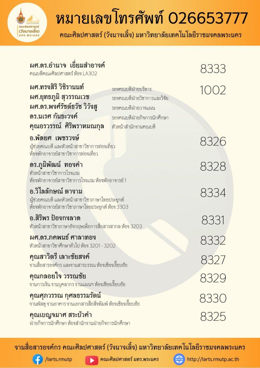 ☎️ คณะศิลปศาสตร์ (วังนางเลิ้ง) มหาวิทยาลัยเทคโนโลยีราชมงคลพระนคร ปรับปรุงข้อมูลหมายเลขโทรศัพท์ภายใน 2563